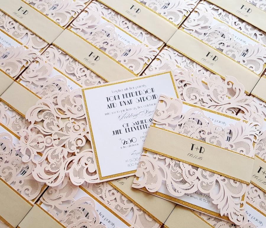 Gold And Blush Wedding Invitations: Rose Quartz Laser Cut Wedding Invitations, Blush Gold