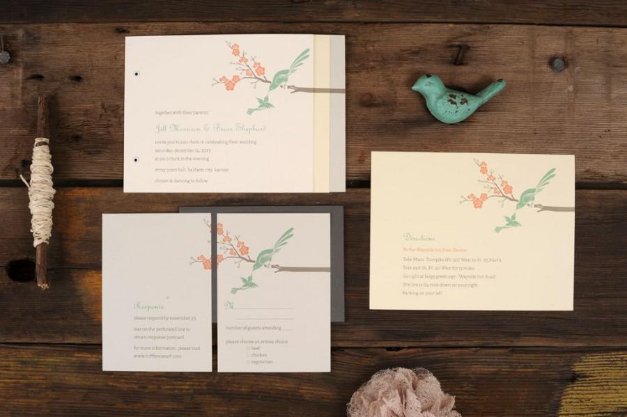 زفاف - Love Birds Wedding Invitations - Art Deco Mint Modern Blossom Invite