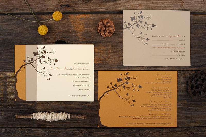 زفاف - Fall Wedding Invitations - Tree Leaves Autumn Warm Orange Brown Invite