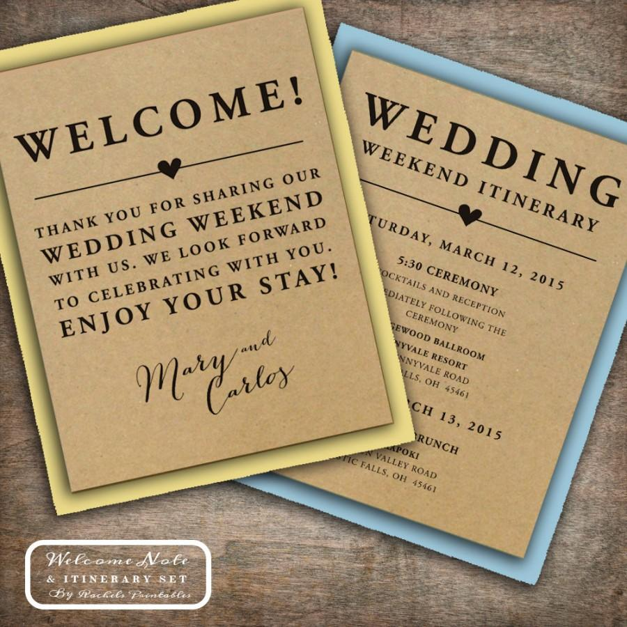 زفاف - Wedding Welcome Note Itinerary Double Sided Custom Printable Wedding Welcome Bag Tags Notes Hotel Welcome Bags Destination Welcome Bags