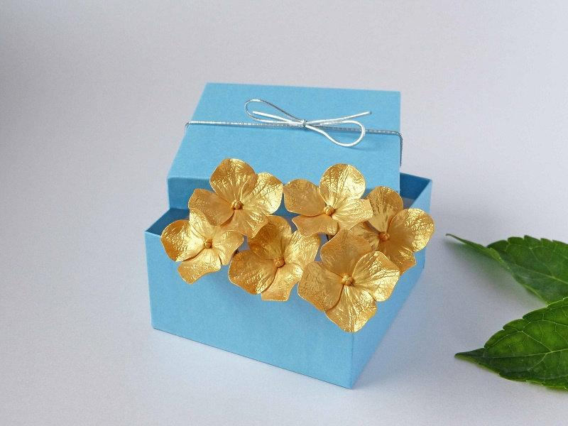 Hochzeit - Gold Hydrangea Hair Pins (set of 6 ) - Wedding hair accessories, Bridal hair flowers, Bride flower pin, Hair pins bride - NOT FRAGILE!