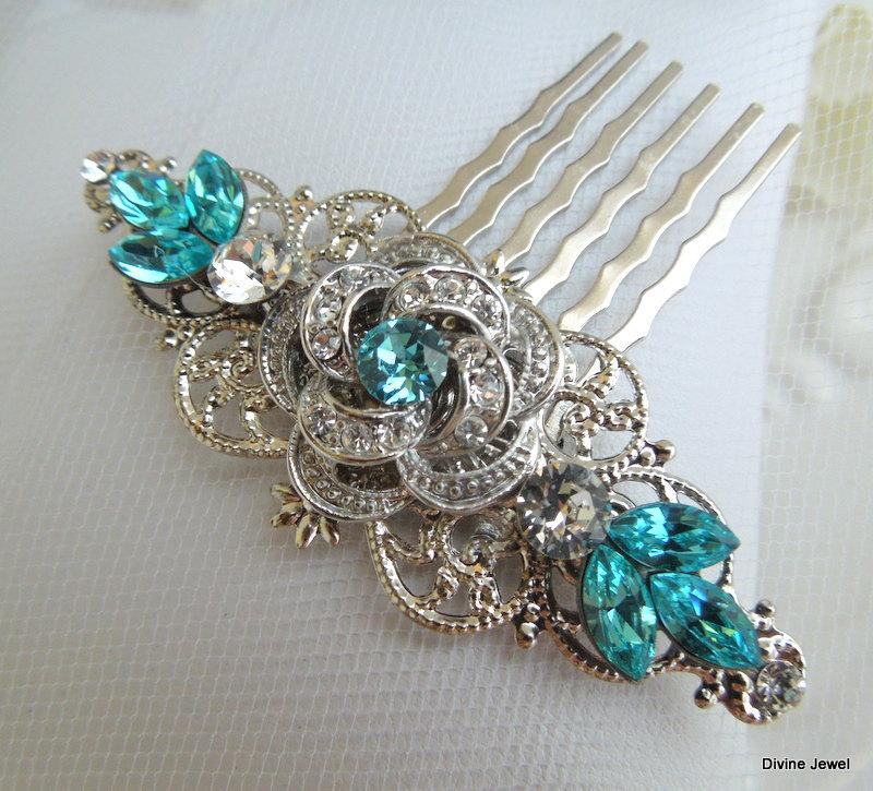 Mariage - Bridal Rhinestone Hair Comb,Wedding Rhinestone Hair Comb,Rose Rhinestone Hair Comb,Swarovski Crystals,Teal Hair Comb,Turquoise,Hair,ROSELANI