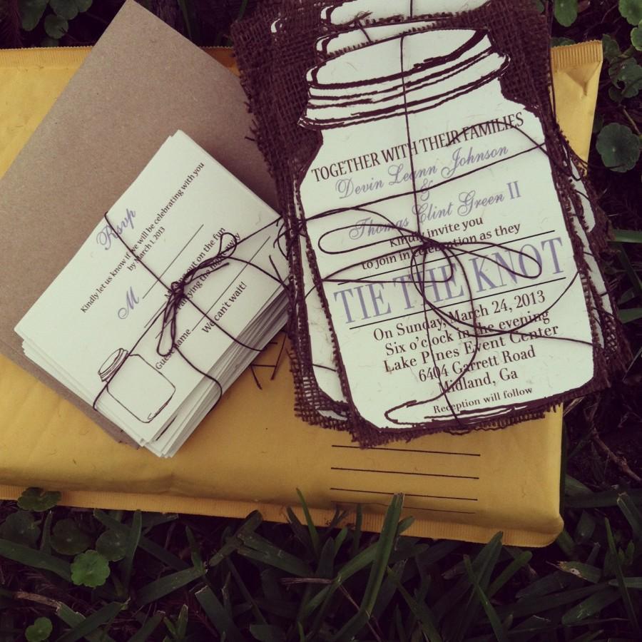 زفاف - Rustic Mason Jar Wedding invitations with brown burlap- 130  invitation suite