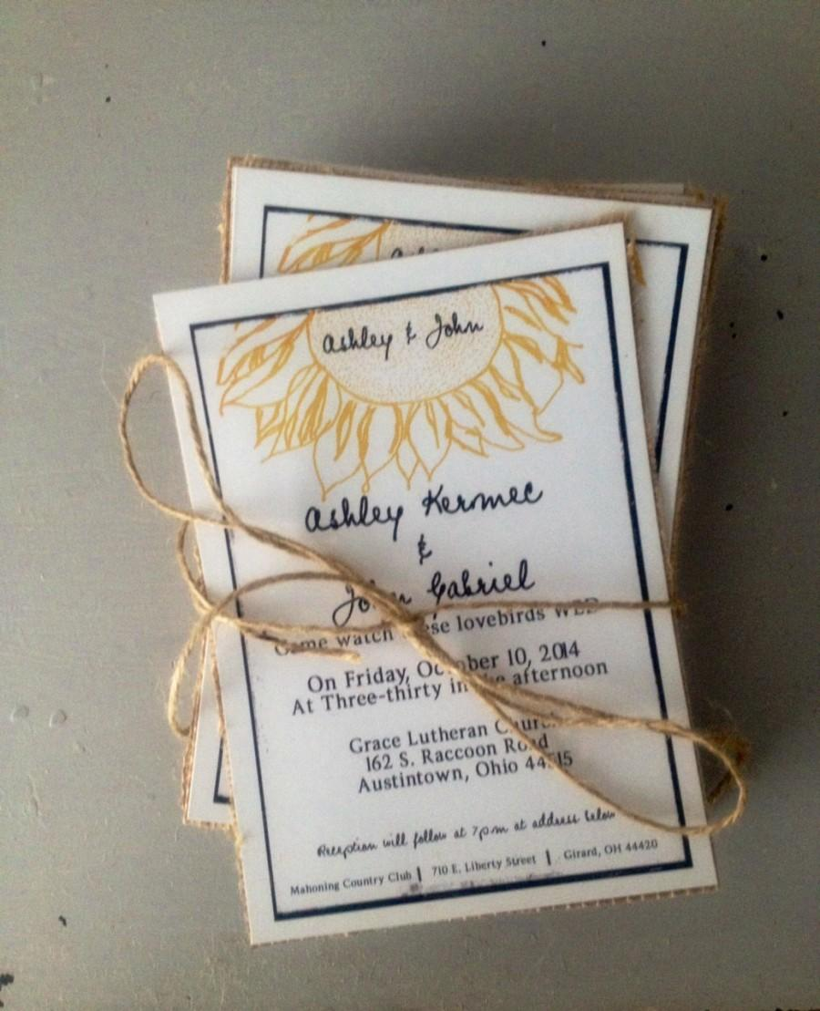 Rustic Sunflower Wedding Invitations With Burlap Black And White