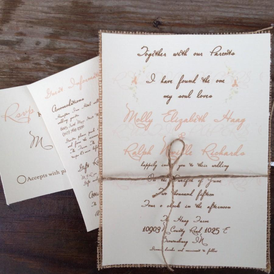 Rustic Floral Wedding Invitation Natural Burlap-I Have Found The One ...