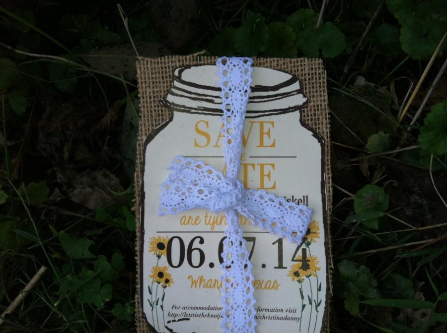 زفاف - Sunflower Save the date with burlap -150 save the dates