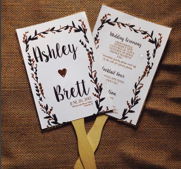 Mariage - Rustic Wedding Program Fans Floral black and gold- 50 Fans