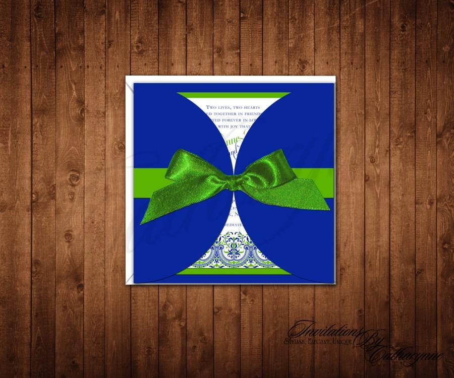 Свадьба - Cobalt Blue Wedding Invitations, Blue and Green Wedding Invitations, Spring and Summer Wedding, Navy Invitations, Lace Wedding Invitations
