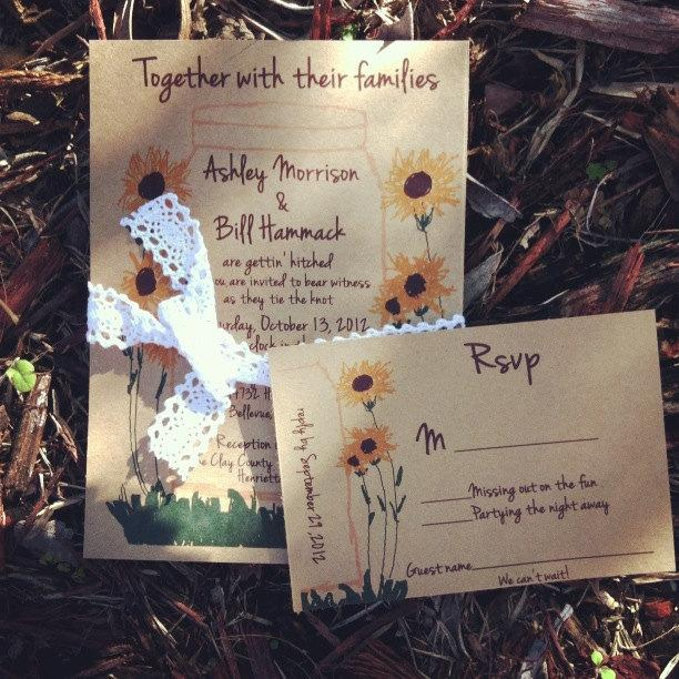 زفاف - Sunflowers Wedding Invitation in mason jar with kraft  with envelopes-100