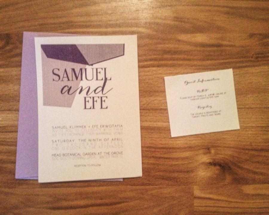 Mariage - Lavender Wedding Invitation with geometric shapes, grays-50 Count