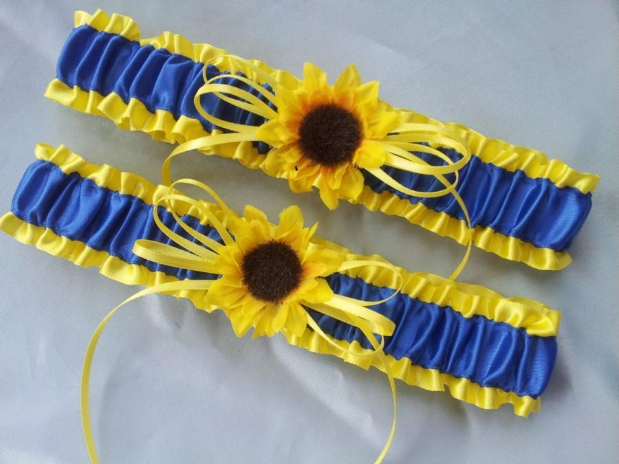 Свадьба - Sunflower Bridal Garter Set Sunshine Yellow Royal Blue Wedding Garter
