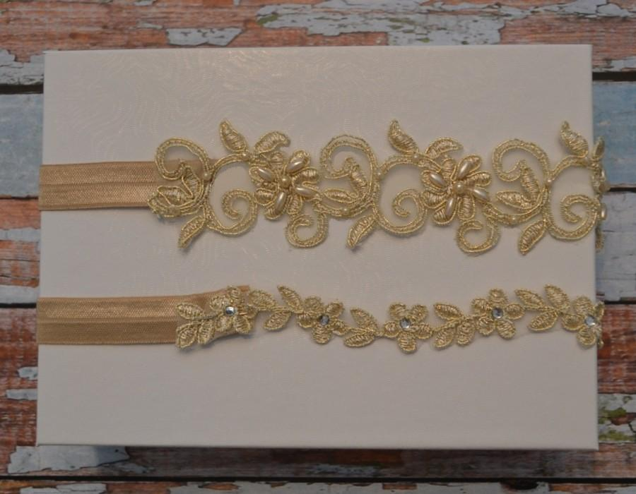 Hochzeit - Champagne/Gold Wedding Garter, SALE Gold Beaded Lace Bridal Garter Belt With Pearls and Sequins, Unique Vintage Style Garter Set, C2