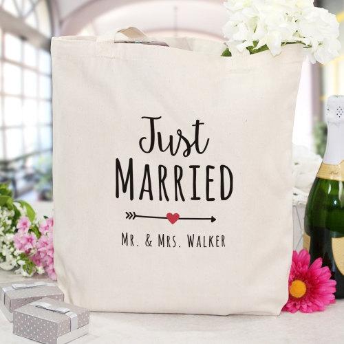 زفاف - Personalized Just Married Canvas Tote Bag - 894862