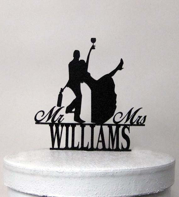 Свадьба - Personalized Wedding Cake Topper - Drunk Bride! with Mr & Mrs your last name