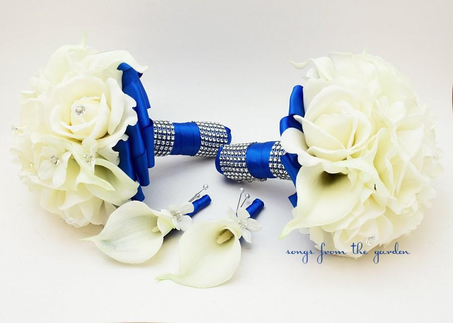 Mariage - Royal Blue Wedding Flower Package Bridesmaid Bouquets Groomsman Boutonnieres Silk Stephanotis Real Touch Roses Real Touch Calla Lilies