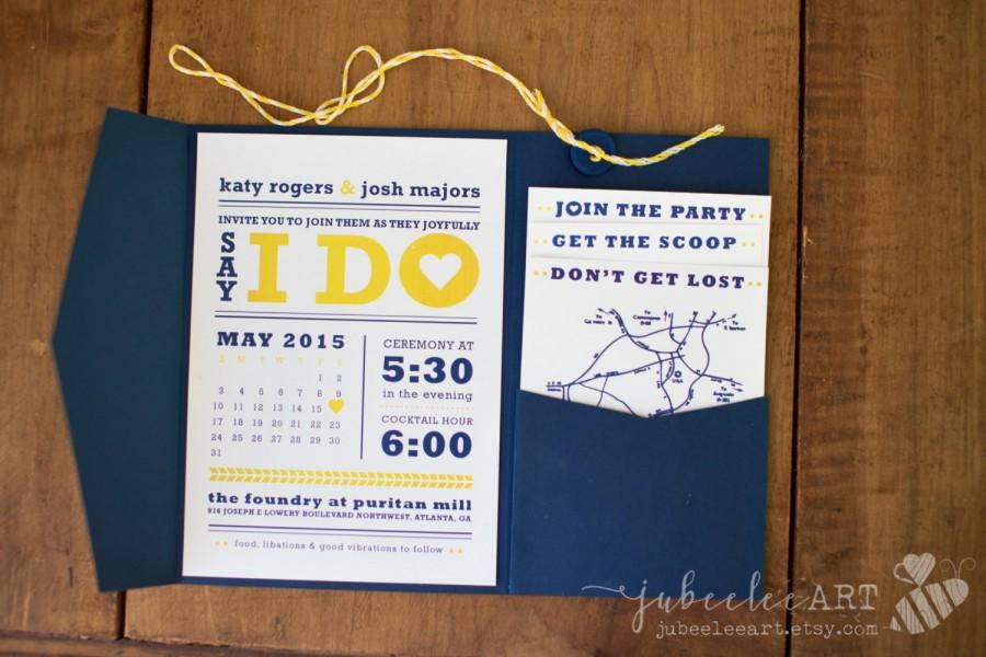 Modern Navy Blue And Yellow Calendar Style Wedding Date Printable ...