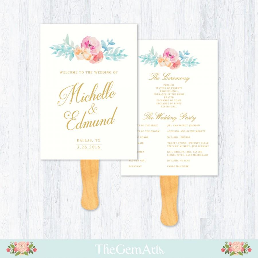 Wedding Fan Program Template Floral Watercolor Rustic Boho Gold
