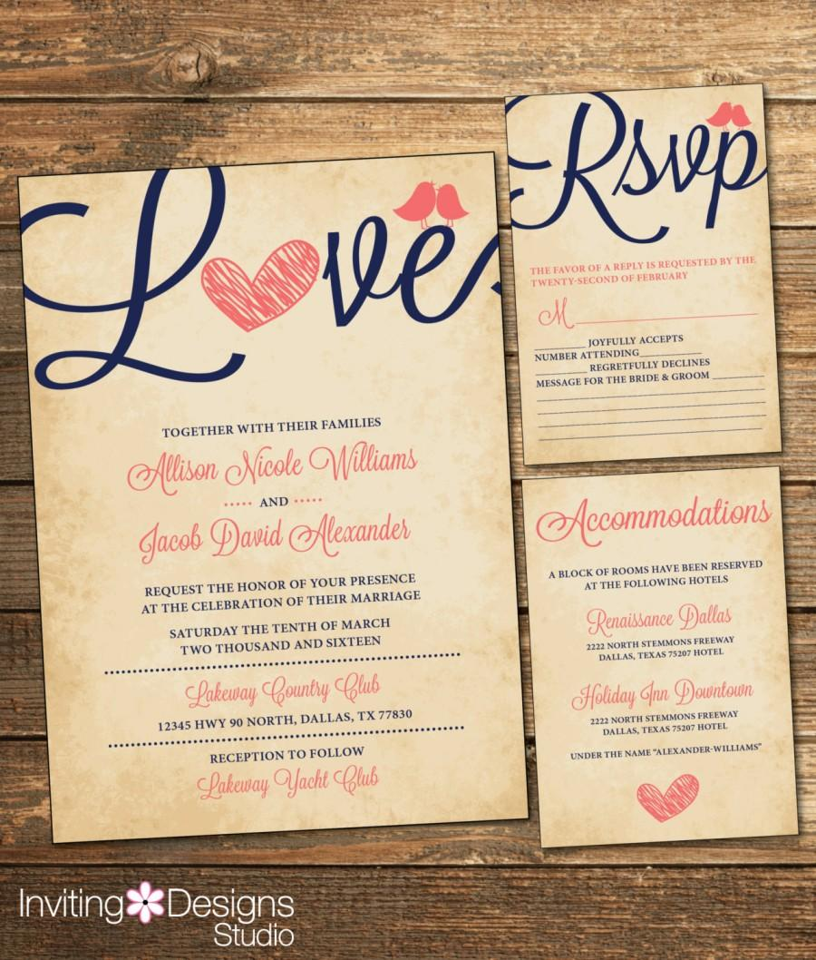 Rustic Wedding Invitation, Love Bird, Coral And Navy ...