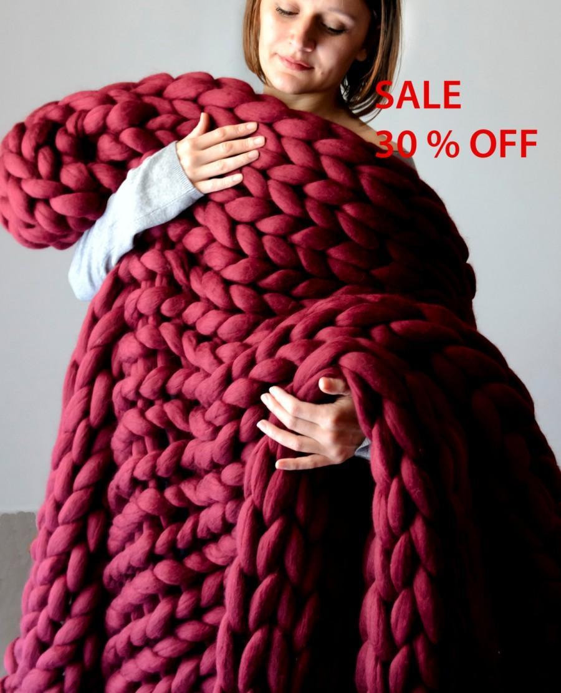 Sale Chunky Knit Blanket Knitted Blanket Merino Wool Blanket