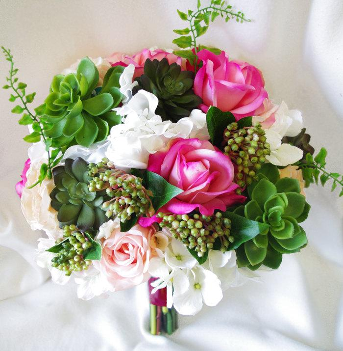 Mariage - Wedding Succulents and Roses Bouquet -Fuchsia Roses and Hydrangeas Natural Touch Silk Flower Bride Bouquet