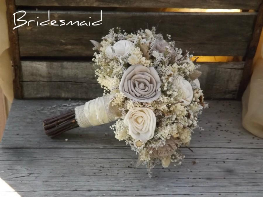 Mariage - Bridesmaid Bouquet Rustic Woodland Twig and Sola Flower with Champagne Accents Made to Order