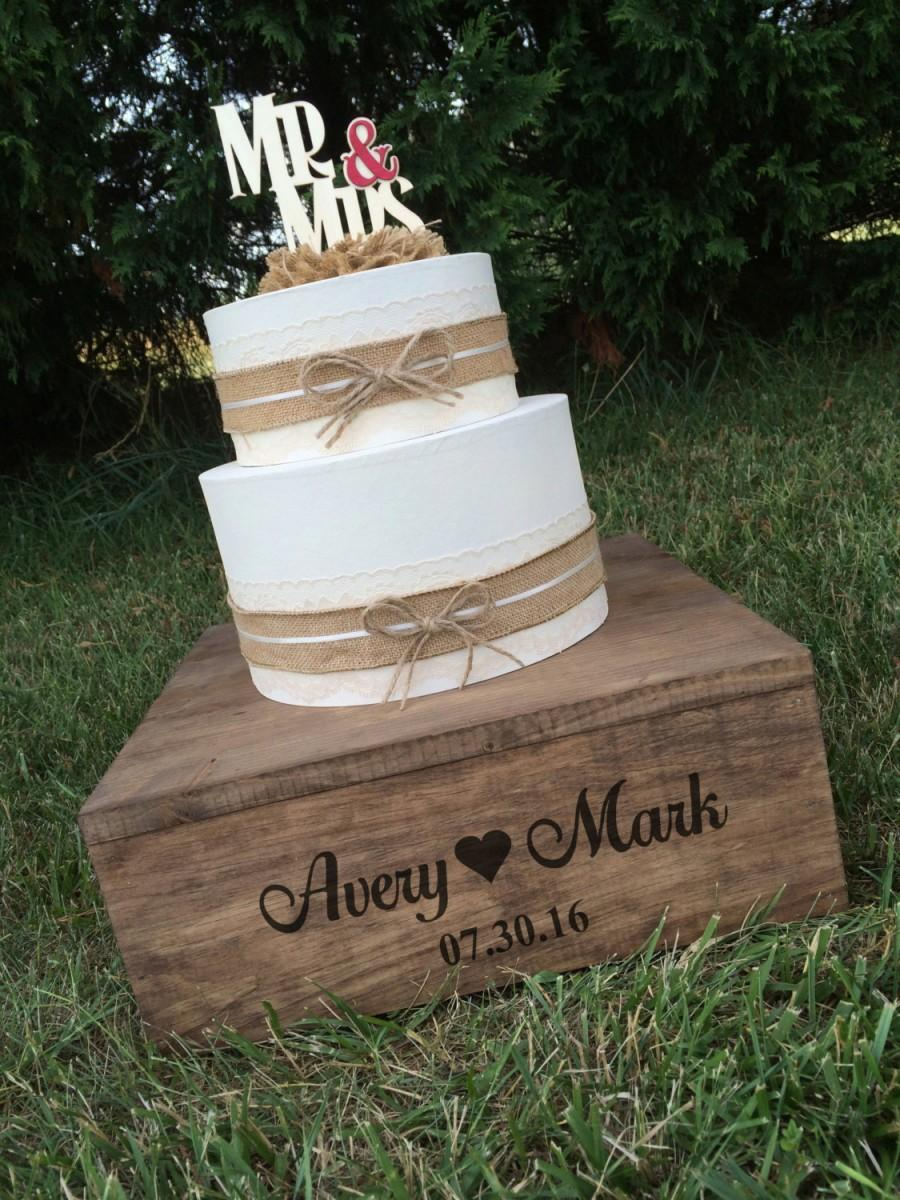 Rustic Wedding Cake Stand And Keepsake Box Personalized Wood Square