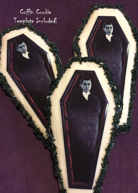 Hochzeit - Edible Dracula Coffin Halloween Cookie Toppers - Frosting Sheet, Uncut