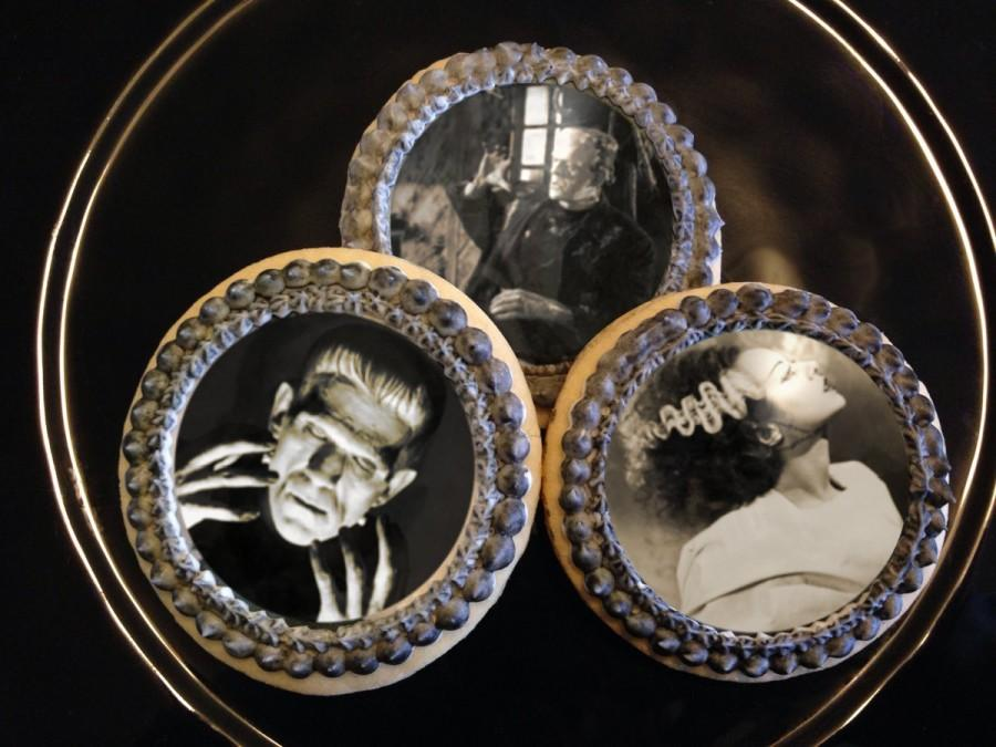 """Mariage - Edible 2.5"""" Round Classic Frankenstein Halloween Cupcake & Cookie Toppers - Wafer Paper or Frosting Sheet"""