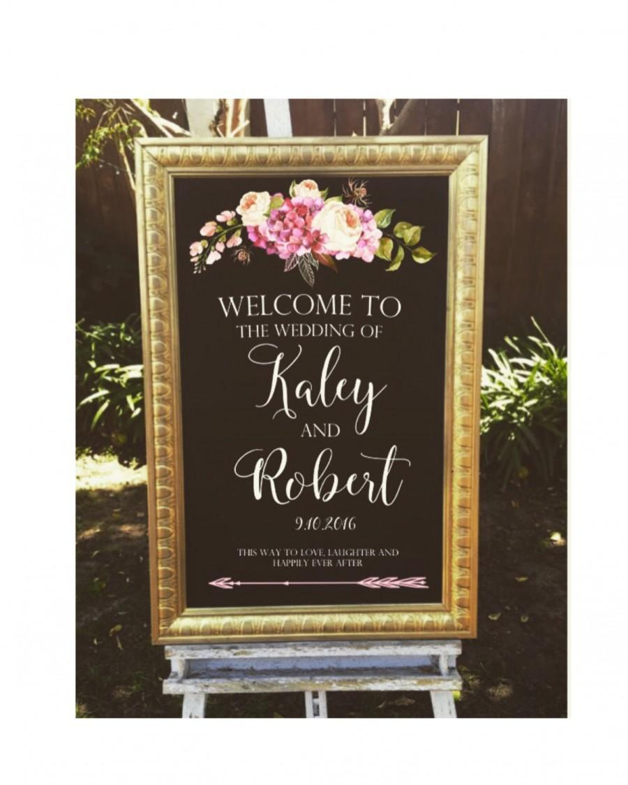 Welcome Wedding Sign, Framed Chalk Art With Gold Frame, 24x36 ...
