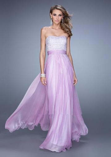 Mariage - Strapless Beading Ruched Floor Length Chiffon Zipper Sleeveless Pink Lilac