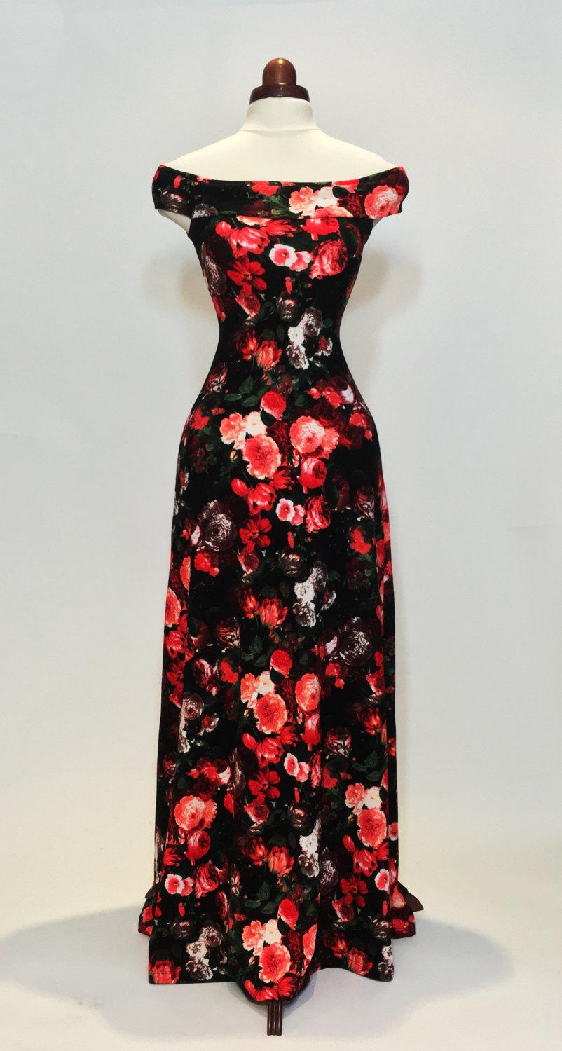 Maxi Dress, Summer Dress, Floral Dress, Red And Coral Dress, Off-the ...