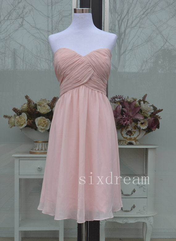 c1d9bab4f5d Short A-line sweetheart light Blush pink Chiffon knee length Bridesmaid  Dress