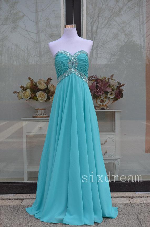Mariage - sweetheart chiffon Sky Blue/Teal prom dress