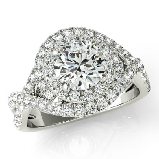 Forever One Moissanite & Diamond Swirl Engagement Ring ...