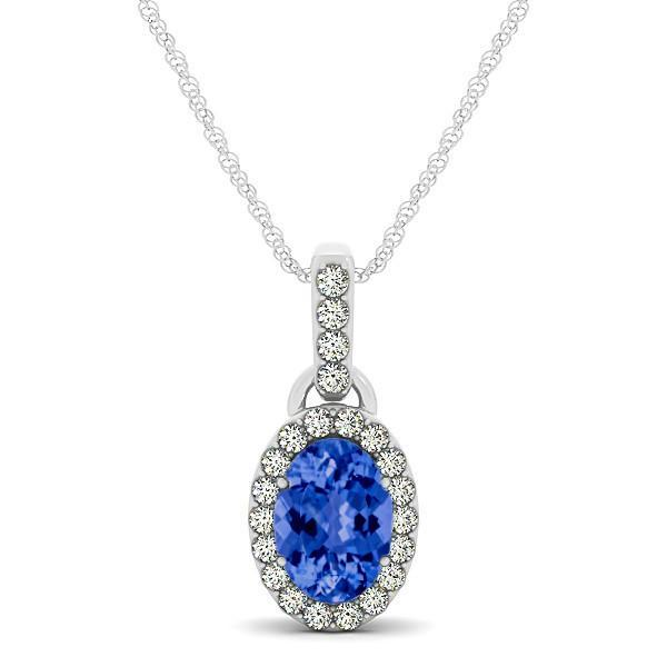Mariage - 8x6 Oval Tanzanite & Diamond Halo Pendant Necklace 14k White Gold - Tanzanite Anniversary Gifts for Women - Wedding Jewelry - Gemstone Jewelry