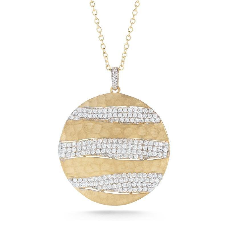 190 Carat Diamond Hammered Gold Pendant Necklace 14k Yellow Gold