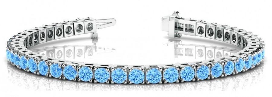 Wedding - 5 Carat Swiss Blue Topaz Tennis Bracelet 14k White Gold - Topaz Tennis Bracelets for Women - Anniversary Gifts - Wedding Jewelry - Blue Topaz Jewelry - Modern Gemstone Bracelets 5ct