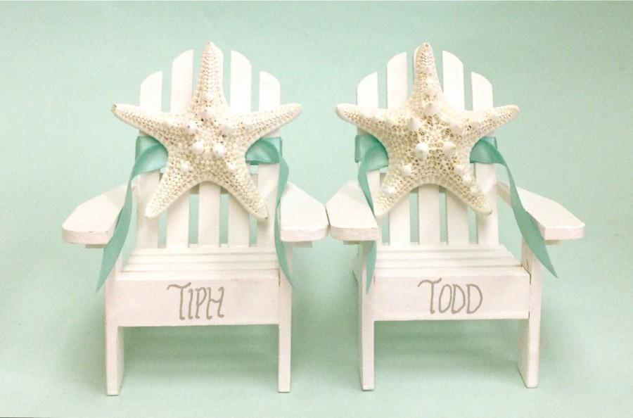 Attractive Beach Wedding Cake Topper   2 Mini Adirondack Chairs With Natural Starfish    6 Chair Colors And 23 Ribbon Choices