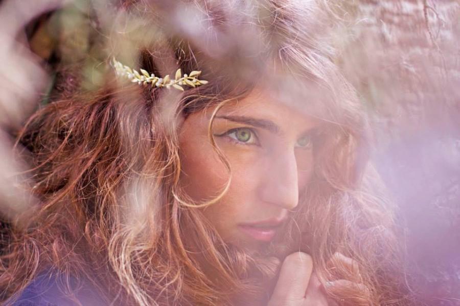 Wedding - Venus Vines & Pearls Headband, Golden Leaves Tiara, Bridal Wreath, Greek Goddess Headband, Grecian Boho Crown, Bridal Hair Accessories