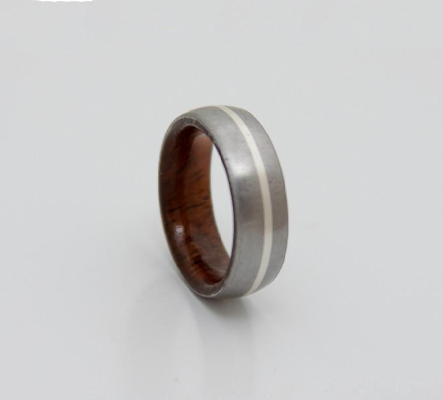 Titanium Wood Wedding Band Mens Ring Her Koa Silver Lined