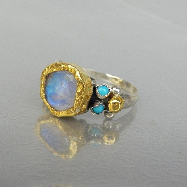 Hochzeit - Gold and Silver Engagement Ring, Moonstone Ring, Venus Ring, Statement Ring, Moonstone Jewelry, Antique Style Ring, Engagement Ring