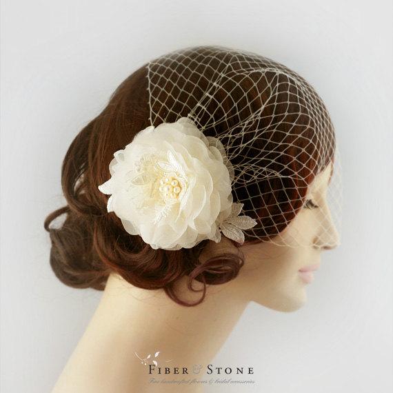 Hochzeit - Bridal Veil with Bridal Silk Flower with Bandeau Birdcage Veil Cage Veil Bridal Veil Lace Flower Bridal Headpiece with Veil Freshwater Pearl