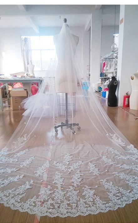 Hochzeit - Cathedral veil Luxury wedding veil Ivory  Bridal veil white Long Veil 1 tier off white veil with comb veil in vintage 3meter Customize veil