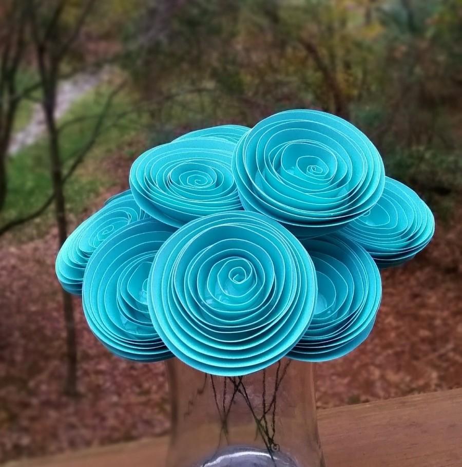 Paper flower bouquet tiffany blue paper flower bouquet for paper flower bouquet tiffany blue paper flower bouquet for weddings brides weddings showers birthdays mothers day izmirmasajfo