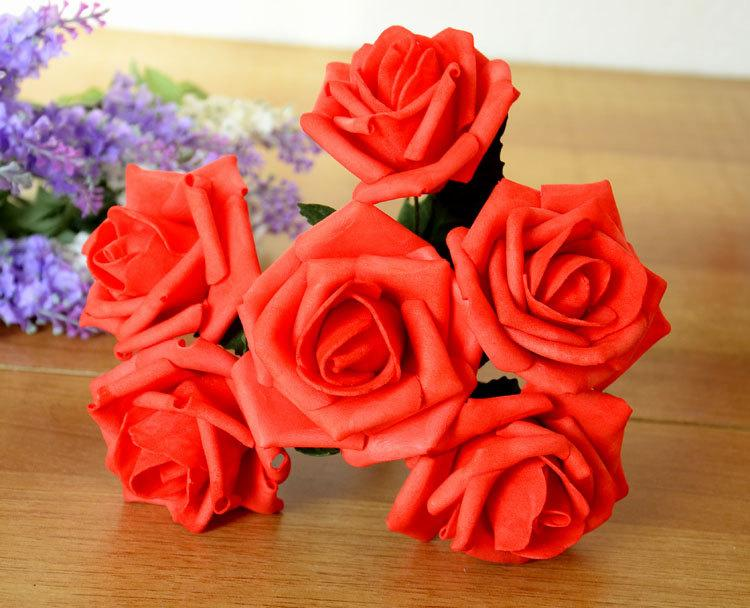 Boda - 72 Red Roses Artificial Flowers Fake Wedding Flowers Red Bridal Bouquet Flowers Centerpieces Decoration Arrangement