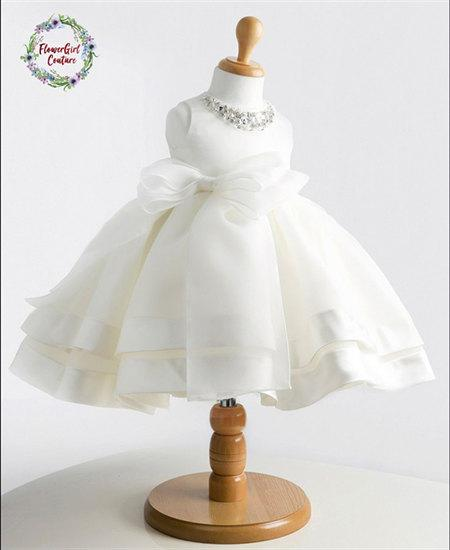 Mariage - Beautiful White or Ivory Satin Girls Gown with a jewel neckline and a Big Bow