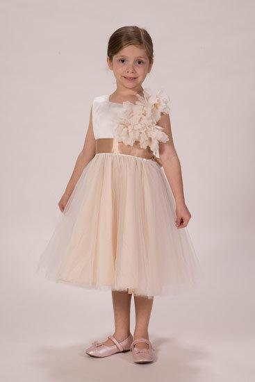 Hochzeit - Gorgeous Ivory and Champagne flower girl dress with a Chiffon flower and Gold bead bodice.