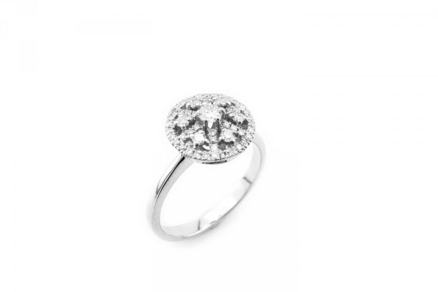 Mariage - Engagement Ring, Wedding Band, Anniversary Ring, Art Nouveau Diamond Ring, 14K White gold Ring, Vintage, Fast Free Shipping