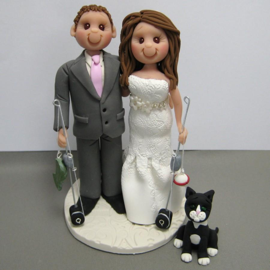 Mariage - DEPOSIT for a Fishing Theme Custom made Polymer Clay Wedding Cake Topper