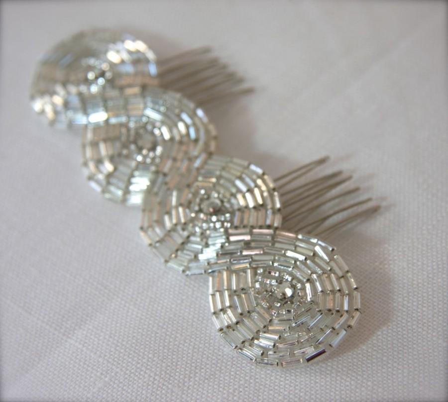 Свадьба - Art Deco Bridal Headpiece Infinity Crystal Rhinestone Beaded Comb, Crystal Bridal Comb Headband elastic band Vintage style  Hair Accessory